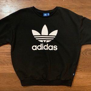 Adidas Sweatshirt 3 Stripe Trefoil Black Mens M